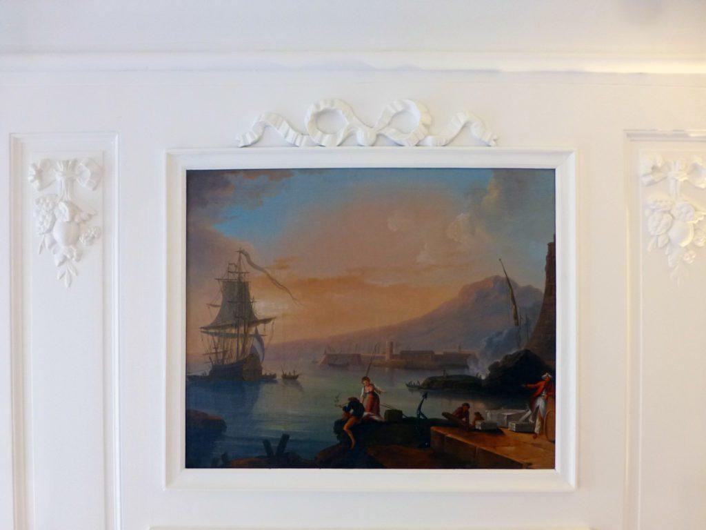 Restauration d'une huile sur toile fin XVIIIème début XIXème montée en trumeau. Intervention in situ. Non signé, non daté. 74,5cm x 6ocm. Collection privée.