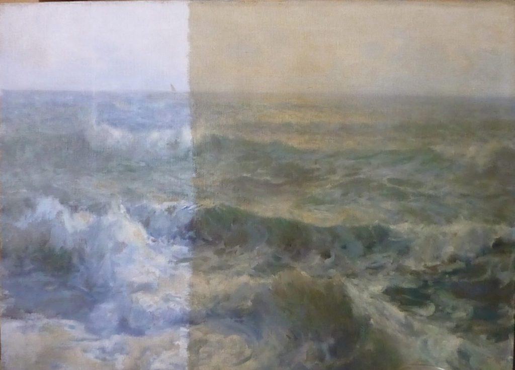 Exemple de nettoyage en cours de la couche picturale sur un tableau, huile sur toile, XXème siècle. Signé E-BHirschfeld, 73,5 cm x 54 cm. Collection privée.