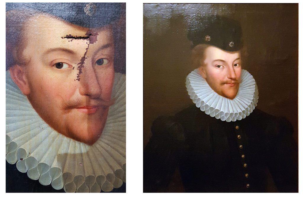 A gauche : détail d'une perforation et du nettoyage en cours. A droite : la vue après restauration. Portrait XVIIIème siècle représentant Henri III. Non signé, non daté. 61,5 cm x 76 cm. Collection privée.