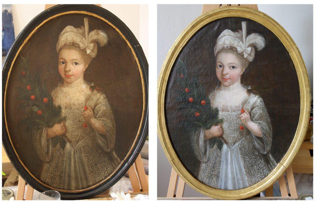 Intervention de nettoyage et d'allègement de vernis sur un portrait de jeune fille ovale estimé XVIIIème siècle. Non signé, non daté. Collection privée.