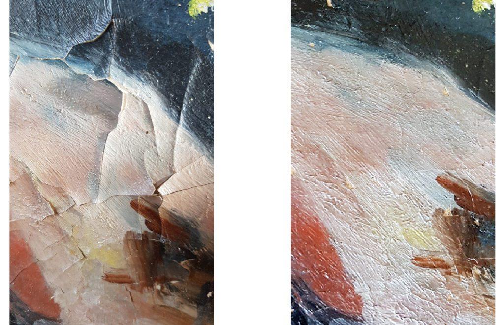 A gauche : Détail de l'altération de la couche picturale avec soulèvements importants. A droite : une fois le refixage de la couche picturale effectué. Tableau huile sur toile, signé Charles Guérin, daté 1906. 54cm x 80cm. Collection privée.