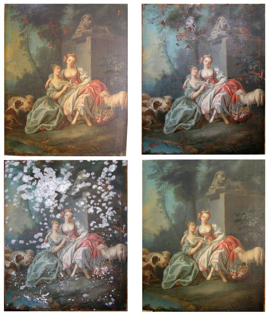 Tableau, huile sur toile XVIIIème siècle. En haut à gauche : prise de vue avant intervention, en haut à droite : après les opérations de nettoyage et d'allègement de vernis. En bas à gauche: la remise à niveau des manques et en bas à droite : le tableau après intervention. Non signé, non daté. 84cm x 114cm. Collection privée.