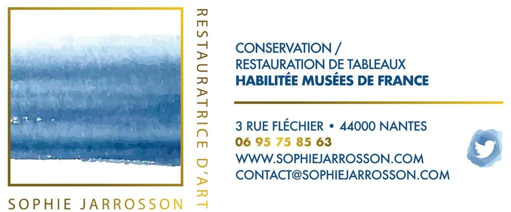 Carte de visite Sophie Jarrosson, Conservation-restauration de tableaux à Nantes