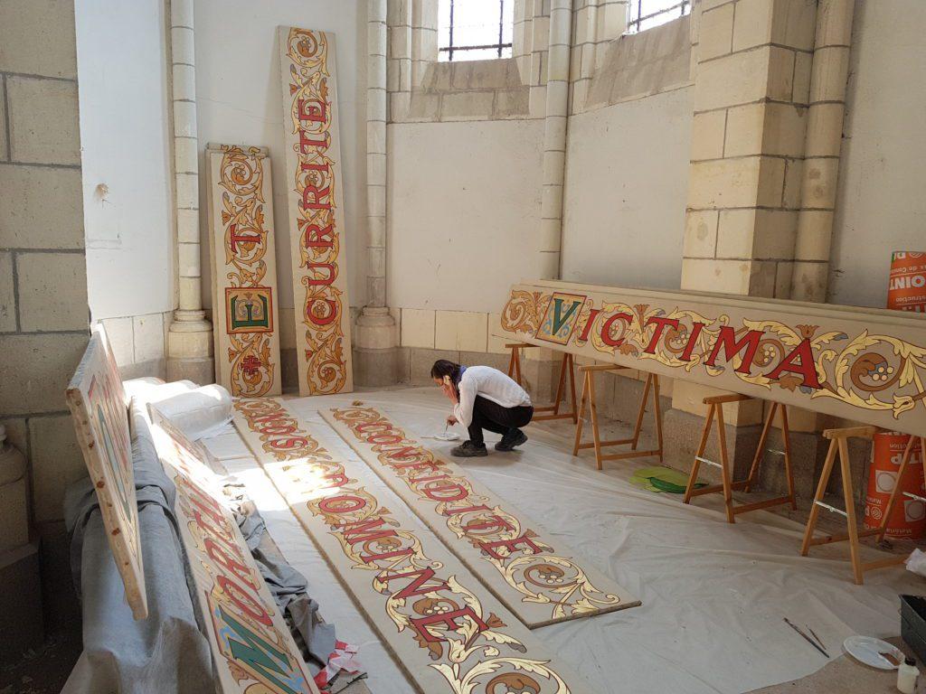 Restauration des peintures de la basilique Saint Donatien - Saint Rogatien à Nantes après le violent incendie de 2015. Groupement de Marie Parant.